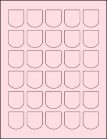 "Sheet of 1.25"" x 1.375"" Pastel Pink labels"