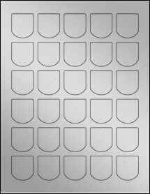 "Sheet of 1.25"" x 1.375"" Weatherproof Silver Polyester Laser labels"