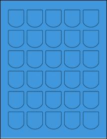 "Sheet of 1.25"" x 1.375"" True Blue labels"
