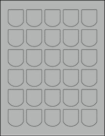 "Sheet of 1.25"" x 1.375"" True Gray labels"