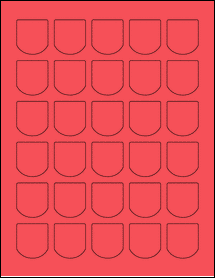 """Sheet of 1.25"""" x 1.375"""" True Red labels"""