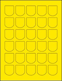 "Sheet of 1.25"" x 1.375"" True Yellow labels"