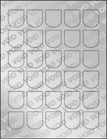 """Sheet of 1.25"""" x 1.375"""" Void Silver Polyester labels"""
