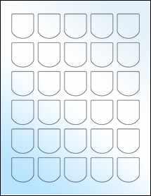 """Sheet of 1.25"""" x 1.375"""" White Gloss Inkjet labels"""