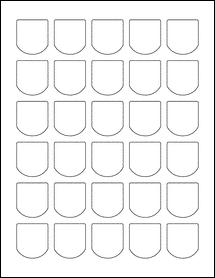 """Sheet of 1.25"""" x 1.375"""" Weatherproof Gloss Inkjet labels"""