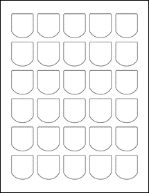 "Sheet of 1.25"" x 1.38"" Aggressive White Matte labels"