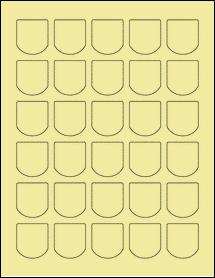 "Sheet of 1.25"" x 1.375"" Pastel Yellow labels"