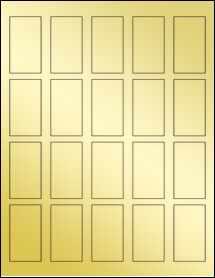 """Sheet of 1.25"""" x 2.25"""" Gold Foil Laser labels"""