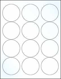 "Sheet of 2.5"" Circle Clear Gloss Laser labels"
