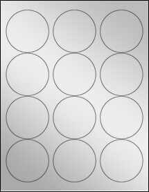 "Sheet of 2.5"" Circle Silver Foil Inkjet labels"