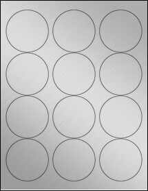 "Sheet of 2.5"" Circle Weatherproof Silver Polyester Laser labels"