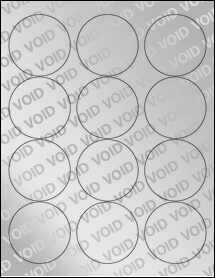 "Sheet of 2.5"" Circle Void Silver Polyester labels"