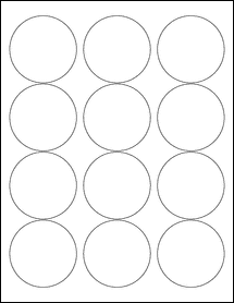 "Sheet of 2.5"" Circle Weatherproof Gloss Inkjet labels"