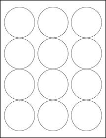 "Sheet of 2.5"" Circle Standard White Matte labels"