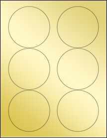 """Sheet of 3.33"""" Circle Gold Foil Laser labels"""