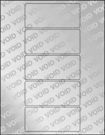 "Sheet of 4.5"" x 2"" Void Silver Polyester labels"