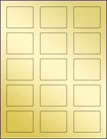 """Sheet of 2.12"""" x 1.69"""" Gold Foil Inkjet labels"""