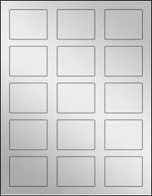 """Sheet of 2.125"""" x 1.6875"""" Silver Foil Inkjet labels"""