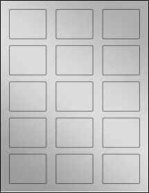 "Sheet of 2.125"" x 1.6875"" Weatherproof Silver Polyester Laser labels"