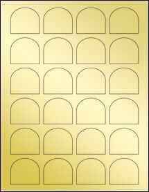 """Sheet of 1.65"""" x 1.5"""" Gold Foil Laser labels"""