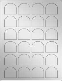 """Sheet of 1.65"""" x 1.5"""" Silver Foil Laser labels"""