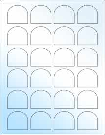 "Sheet of 1.65"" x 1.5"" White Gloss Inkjet labels"