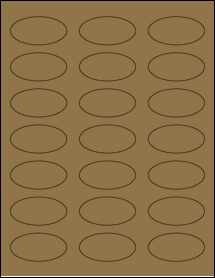 "Sheet of 2.25"" x 1.125"" Oval Brown Kraft labels"