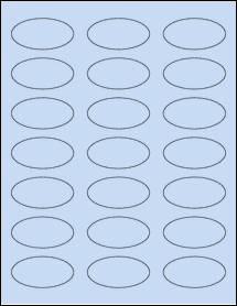 """Sheet of 2.25"""" x 1.125"""" Oval Pastel Blue labels"""