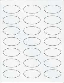 "Sheet of 2.25"" x 1.125"" Oval Clear Matte Laser labels"