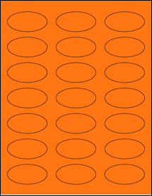 "Sheet of 2.25"" x 1.125"" Oval Fluorescent Orange labels"