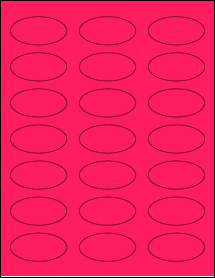 """Sheet of 2.25"""" x 1.125"""" Oval Fluorescent Pink labels"""