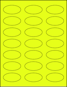 """Sheet of 2.25"""" x 1.125"""" Oval Fluorescent Yellow labels"""
