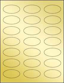 "Sheet of 2.25"" x 1.125"" Oval Gold Foil Laser labels"