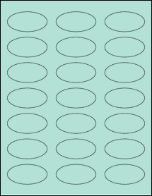 """Sheet of 2.25"""" x 1.125"""" Oval Pastel Green labels"""