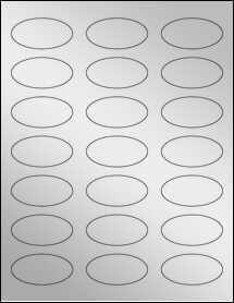 "Sheet of 2.25"" x 1.125"" Oval Silver Foil Inkjet labels"
