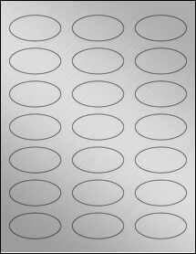 "Sheet of 2.25"" x 1.125"" Oval Weatherproof Silver Polyester Laser labels"