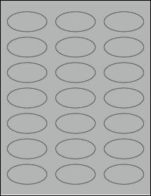 "Sheet of 2.25"" x 1.125"" Oval True Gray labels"