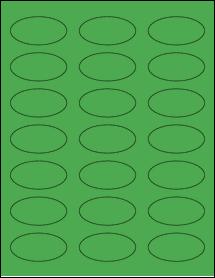 "Sheet of 2.25"" x 1.125"" Oval True Green labels"