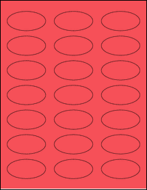 """Sheet of 2.25"""" x 1.125"""" Oval True Red labels"""
