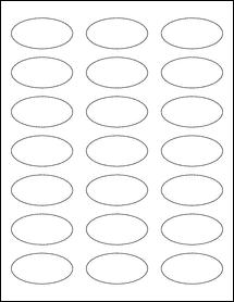 """Sheet of 2.25"""" x 1.125"""" Oval Weatherproof Gloss Inkjet labels"""