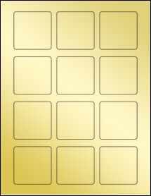 """Sheet of 2.125"""" x 2.125"""" Square Gold Foil Laser labels"""