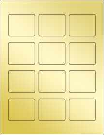 "Sheet of 2.19"" x 1.81"" Gold Foil Inkjet labels"