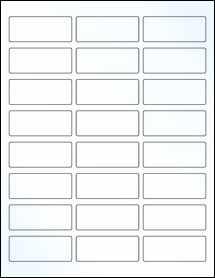 "Sheet of 2.5"" x 1"" Clear Gloss Inkjet labels"