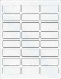 "Sheet of 2.5"" x 1"" Clear Matte Laser labels"
