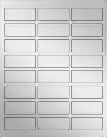 """Sheet of 2.5"""" x 1"""" Silver Foil Laser labels"""