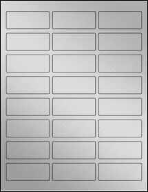 "Sheet of 2.5"" x 1"" Weatherproof Silver Polyester Laser labels"
