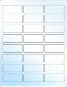 "Sheet of 2.5"" x 1"" White Gloss Laser labels"