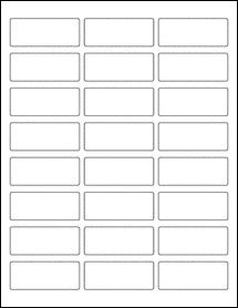 "Sheet of 2.5"" x 1"" Aggressive White Matte labels"