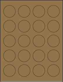 """Sheet of 1.625"""" Circle Brown Kraft labels"""