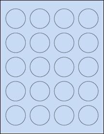 """Sheet of 1.625"""" Circle Pastel Blue labels"""